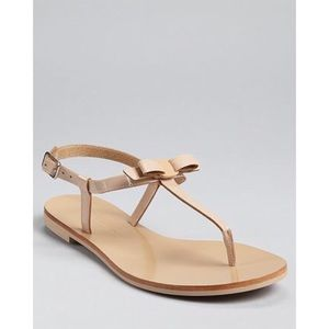 My Ferragamo Bow Blush Nude Leather Thong Sandals